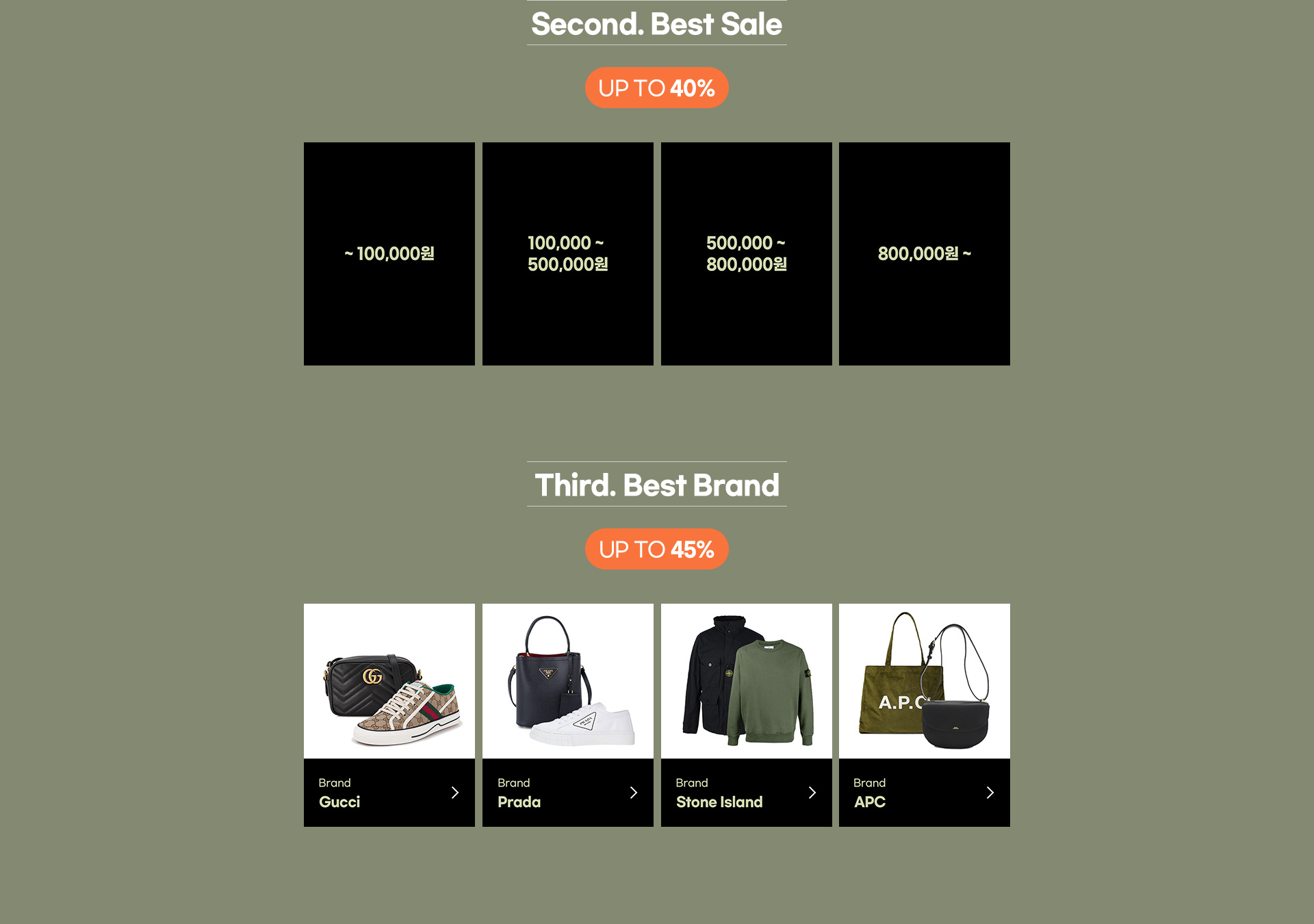 Second. Best Sale UP TO 40%, Third. Best Brand UP TO 45%