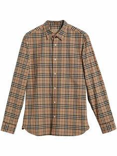 Burberry Camicia Con Motivo Haymarket
