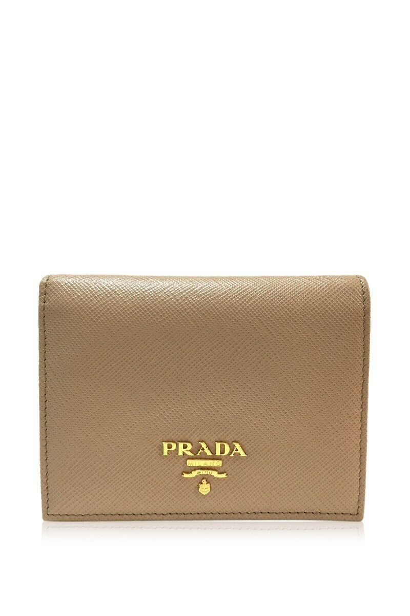 1018c767 UNUSED PRADA Short wallet Saffiano Bifold Wallet Beige Leather ...