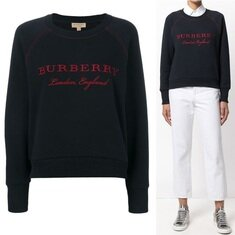 Burberry Embroidered Cotton Blend Jersey Sweatshirt