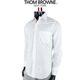 Thom Browne Long Sleeve Shirt with Grosgrain Placket in Solid Poplin