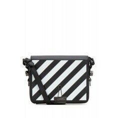 19FW[오프화이트]Black leather Binder Clip handbag _ OWNA011E19423107 1001