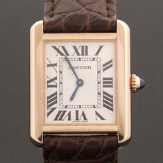 Cartier(까르띠에) W5200024 18K 핑크골드 탱크 솔로 악어 밴드 시계