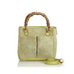 Vintage Gucci Green Suede Leather Bamboo Satchel Italy