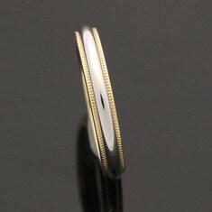 Tiffany(티파니) 3MM 클래식 밀그레인 플래티늄 골드 콤비 밴드 반지(20호)