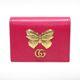 중고 Gucci(구찌) 499361 핑크 레더 GG 마몬트 금장 버터플라이 카드 케이스 반지갑