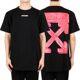 오프화이트 20FW 블랙 레드 마커 애로우 슬림 티셔츠 OMAA027E20JER0051025
