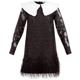 가니 바로크 브로케이드 깃털 미니 드레스