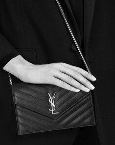 YSL - 16SS 생로랑 모노그램 블랙 캐비어 체인 지갑