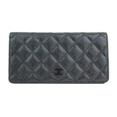 CHANEL - 샤넬 메탈그레이 캐비어 퀼팅 은장CC 2단 장지갑(20번대) 노블하우스