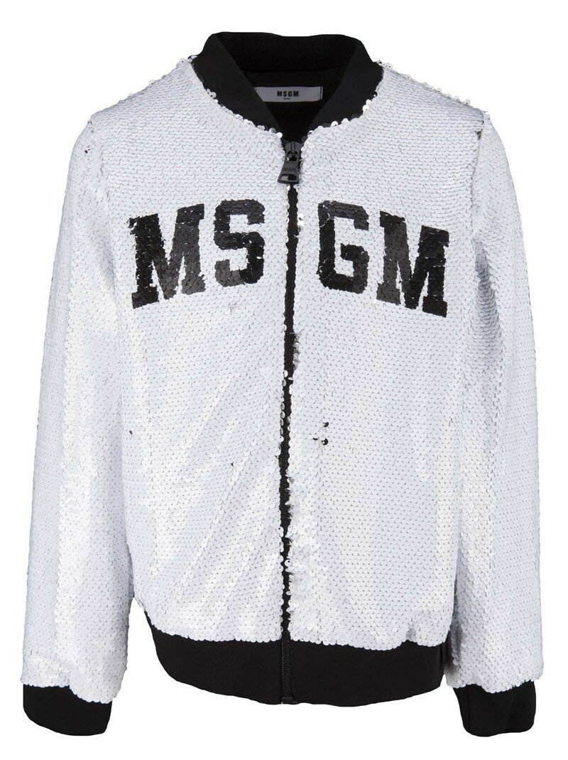 White Bomber Jacket For Girls In Polyester With Paillettes And Front Logo - 리본즈 코리아(REEBONZ KOREA) - 웹