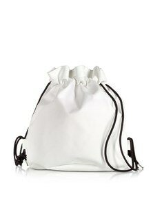 White Drawstring Backpack w/ Metal Handle