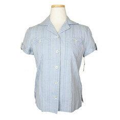중고 DKNY - DKNY 스카이블루 줄무늬 롤업 면 셔츠 상의(2) 노블하우스