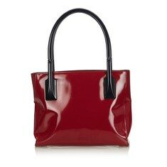 Vintage Prada Red Bordeaux with Black Patent Leather Shoulder Bag Italy