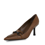 Brown Horsebit Women Pumps