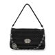 Black Lambskin Matelasse Women's Crystal Clutch Bag